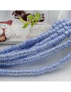 Filo perle in ceramica rondella luminosa e smaltata colore cielo 4 x 6 mm 80 pz per le tue creazioni!!