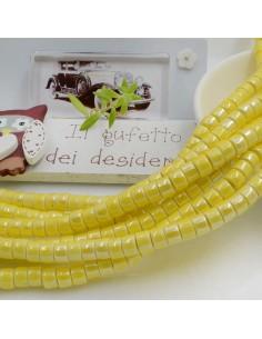 Filo perle in ceramica rondella luminosa e smaltata colore giallo 4 x 6 mm 80 pz per le tue creazioni!!