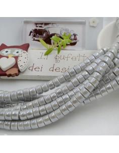 Filo perle in ceramica rondella luminosa e smaltata colore grigio chiaro 4 x 6 mm 80 pz per le tue creazioni!!