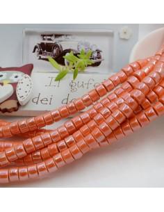 Filo perle in ceramica rondella luminosa e smaltata colore arancione 4 x 6 mm 80 pz per le tue creazioni!!