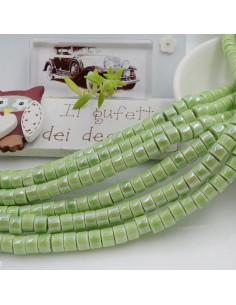Filo perle in ceramica rondella luminosa e smaltata colore verde chiaro 4 x 6 mm 80 pz per le tue creazioni!!