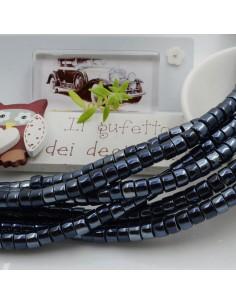 Filo perle in ceramica rondella luminosa e smaltata colore nero rodio 4 x 6 mm 80 pz per le tue creazioni!!