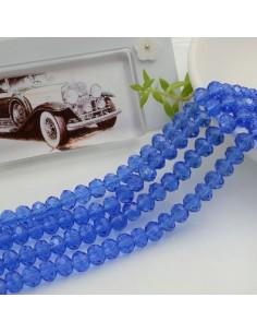 Filo mezzo cristallo Rondelle Cipollotti 4 x 6 mm briolette col blu trasparente 90 pz per le tue creazioni!!