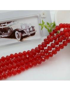 Filo mezzo cristallo Rondelle Cipollotti 4 x 6 mm briolette col rosso trasparente 90 pz per le tue creazioni!!