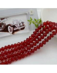 Filo mezzo cristallo Rondelle Cipollotti 4 x 6 mm briolette col bordeaux trasparente 90 pz per le tue creazioni!!