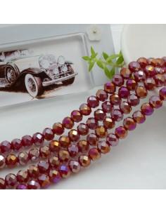 Filo mezzo cristallo Rondelle Cipollotti 4 x 6 mm briolette col bordeaux AB 90 pz per le tue creazioni!!