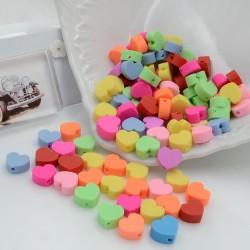 100 pz Perline Cuori colorati IN PASTA POLIMERICA circa 10 mm per le tue creazioni alla moda!!