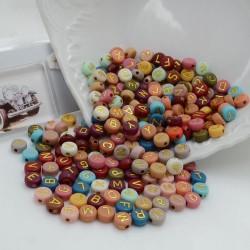 Perline lettere oro di plastica colorata 4 x 7 mm 400 pz per le tue creazioni alla moda!!