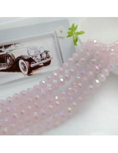 Filo mezzo cristallo Rondelle Cipollotti 4 x 6 mm briolette col rosa chiaro AB 90 pz per le tue creazioni!!