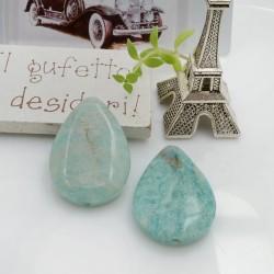 Goccia liscia pietre dure amazzonite con foro passante 31 x 22 mm 1 pz per le tue creazioni!!