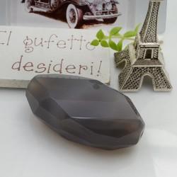 Pietre dure quarzo grigio forma irregolare con foro passante 46 x 25 mm 1 pz per le tue creazioni!!