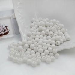 Perline tonde di plastica bianca 6 mm con foro 1.5 mm 600 pz per le tue creazioni alla moda!!