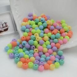Perline tonde di plastica colorata mix opaca 6 mm con foro 1.5 mm 600 pz per le tue creazioni alla moda!!