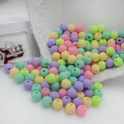 Perline tonde di plastica colorata mix opaca 8 mm con foro 1.5 mm 300 pz per le tue creazioni alla moda!!