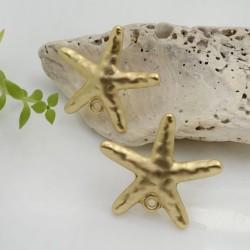 Base Orecchini a perno in zama oro a forma di stella marina 24 x 28 mm con farfalle in silicone per orecchini alla moda!!