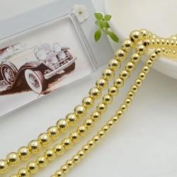 Pietre ematite rotonda liscia colore oro per bigiotteria circa 40cm per le tue creazioni!!!