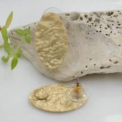 Base Orecchini a perno in zama oro ovale battuto con gancio 25 x 15 mm per orecchini alla moda!!