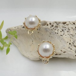 Base Orecchini a perni tondo con perla in metallo oro 14 x 16 mm per le tue creazioni!!