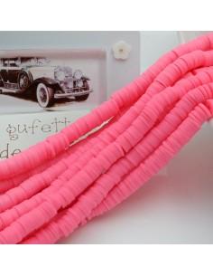 fili Rondelle Pasta Polimerica col rosa fuscia 1 x 6 mm 39/40 cm Polimero Perline Heishi per le tue creazione