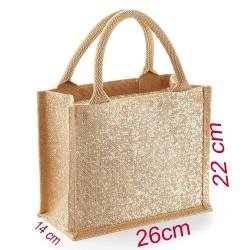 Borse in juta lucisda con oro borse per spesa portale 100% juta laminata 26 x 22 x 14 cm spesa da spiagia riutilizzabile