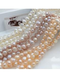 Fili di perle acqua dolce perle piatte 8 mm 45 pz colore naturale per tuoi gioielli