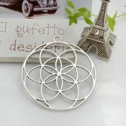 Ciondolo tondo fiore della vita 48 mm 1 pz colore argento in metallo per le tue creazioni!!