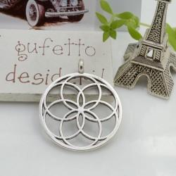 Ciondolo tondo fiore della vita 35.5 mm 1 pz colore argento in metallo per le tue creazioni!!