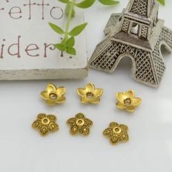 Copri perla con fantasia fiore a coppette 8 mm 40 pz in metallo colore oro antico per le tue creazioni!!!