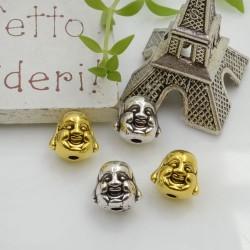 Distanziatori Perline viso buddha 10 mm 3 pz in metallo per bigiotteria per le tue creazioni!