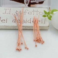 Chiodini Spilli testa Pallina filo 0.6 col oro rosa in ottone per Bigiotteria per le tue creazioni!!!