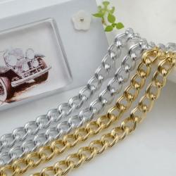 CATENA alluminio GROUMETTE 6 x 8.5 mm alluminio filo rigato 1mt per borse bigiotteria orecchini, collane e bracciali fai da te!