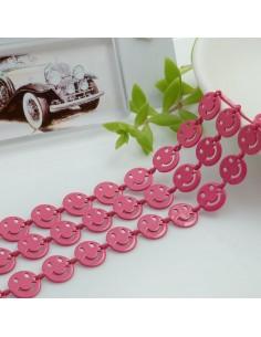 Catena Smile smaltata colore fucsia 8 mm in ottone 50 cm per le tue creazioni alla moda!!