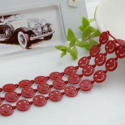 Catena Smile smaltata colore rosso 8 mm in ottone 50 cm per le tue creazioni alla moda!!