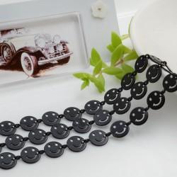 Catena Smile smaltata colore nero 8 mm in ottone 50 cm per le tue creazioni alla moda!!