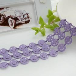 Catena Smile smaltata colore lilla 8 mm in ottone 50 cm per le tue creazioni alla moda!!