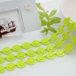 Catena Smile smaltata colore giallo fluo 8 mm in ottone 50 cm per le tue creazioni alla moda!!