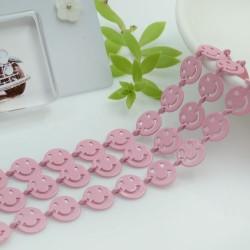 Catena Smile smaltata colore rosa chiaro 8 mm in ottone 50 cm per le tue creazioni alla moda!!