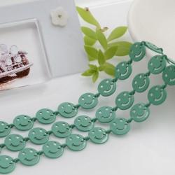 Catena Smile smaltata colore verde acqua 8 mm in ottone 50 cm per le tue creazioni alla moda!!