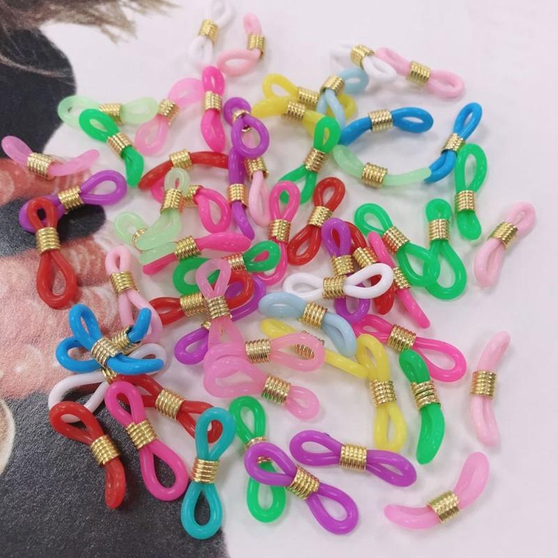 Gommini Terminali colorati mix con molla in metallo oro connettori per catenelle occhiali 20 mm 60 pz per le tue creazioni!!