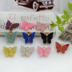 Ciondolo Charms farfalla smaltata con brillantini 12 x 13 mm 2 pz base oro in ottone per le tue creazioni fai da te!