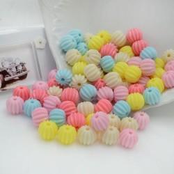 Perline tonde rigate di plastica colorata mix 9 x 11 mm con foro 2 mm 120 pz per le tue creazioni alla moda!!