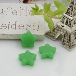 Pietre dure agata verde a forma di stella con foro passante 12 mm 1 pz per le tue creazioni!!