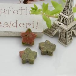 Pietre dure unakite a forma di stella con foro passante 12 mm 1 pz per le tue creazioni!!