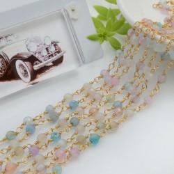 Catena rosario pietre dure agata mix sfaccettata 4 mm concatenata filo oro in ottone 50 cm per fai da te