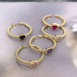 Anello con zircone a forma di cuore regolabile vari colori con base oro elegante da donna!!