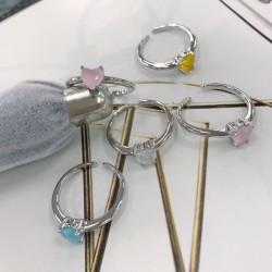 Anello con zircone a forma di cuore regolabile vari colori base argento elegante da donna!!