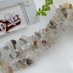 Perline in pietra chips 5 x 9 mm Quarzo Rutilato Sassolini per bigiotteria circa 200pz filo 90cm