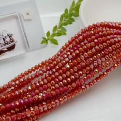 filo cristalli 2.5 x 3.5 mm colore rosso rodiato AB Rondelle sfaccettato 145pz per le tue creazioni n 105