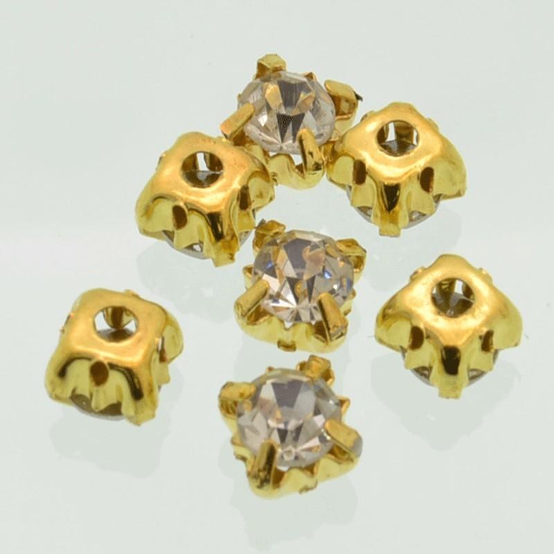 Cucire Cristallo Vetro Diamante Strass col oro 3. 4, 5, 6 mm