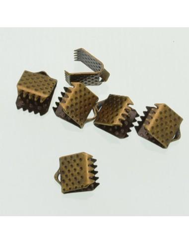 TERMINALI CAPICORDA bronzo PER nastro 6.5x7 mm Bracciale collana orecchini